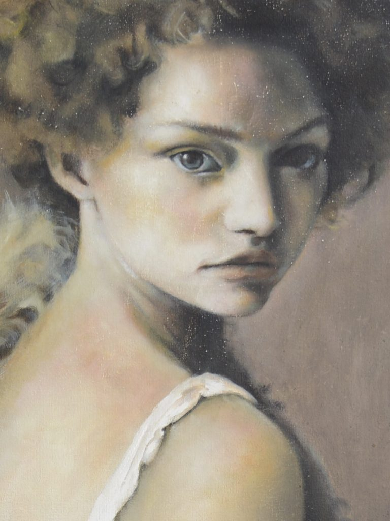 Woman with Curly Hair. Apricot Punch close shot