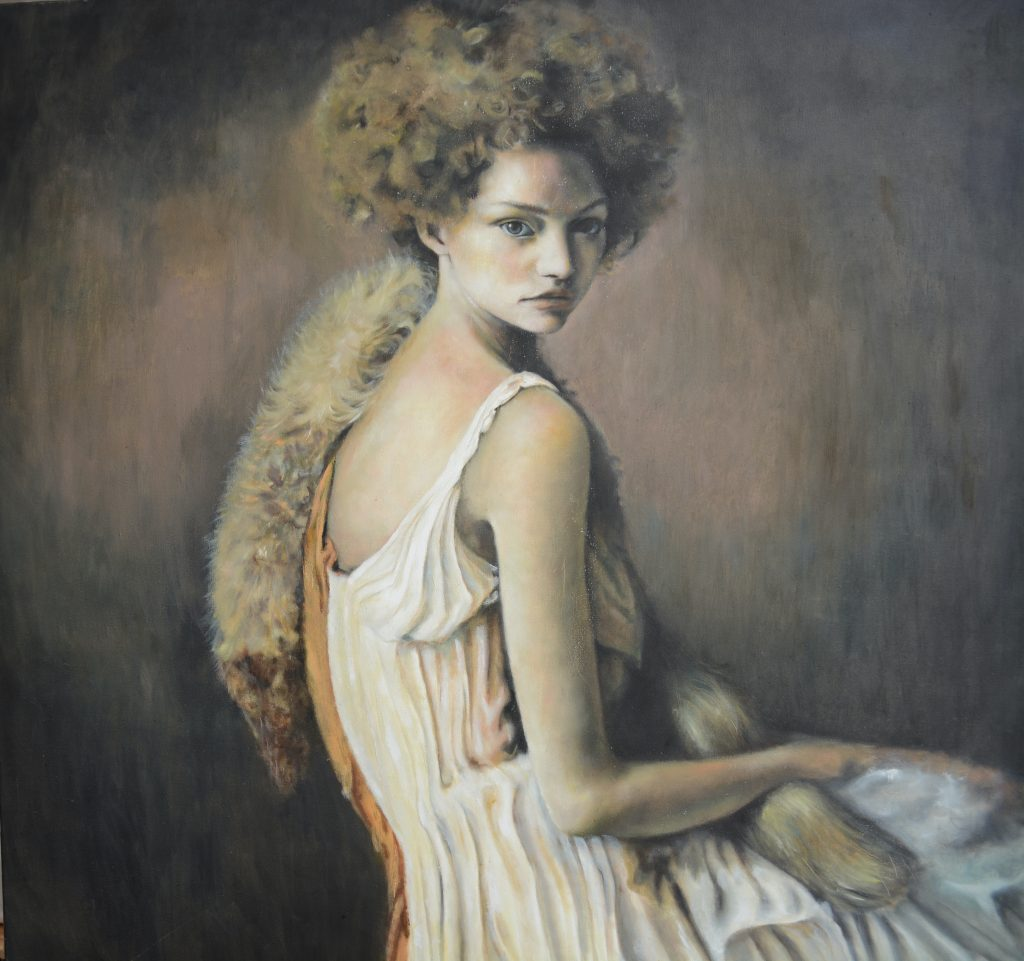 Woman with Curly Hair. Apricot Punch by Tatiana Hutsul
