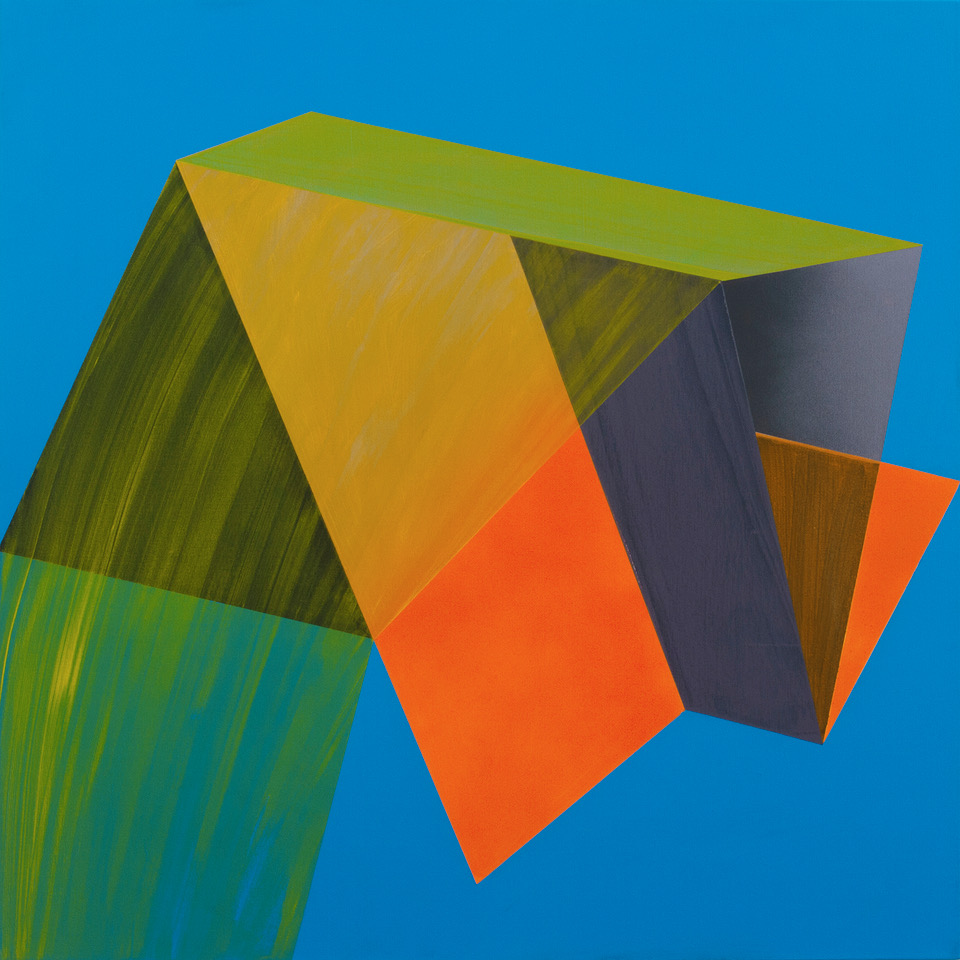 Fragmented Geometry 2 painting inspired by modern forms in space, volume and flatness and the facets this imaginary object creates.