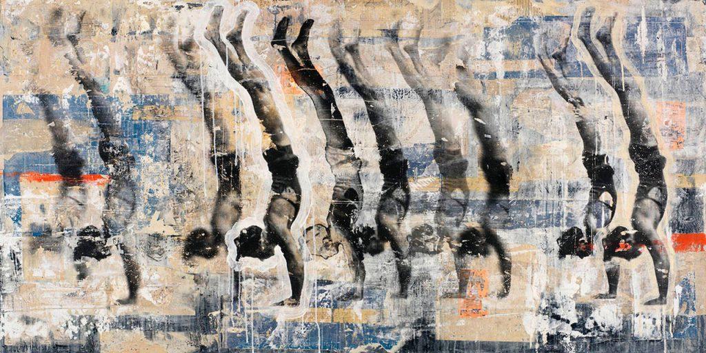Fragile Equanimity Man Handstand Yoga Pose Orange Blue Collage large art