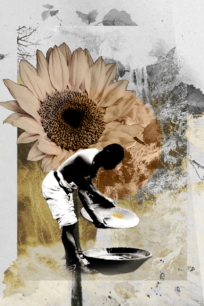 Gold for freedom digital collage print