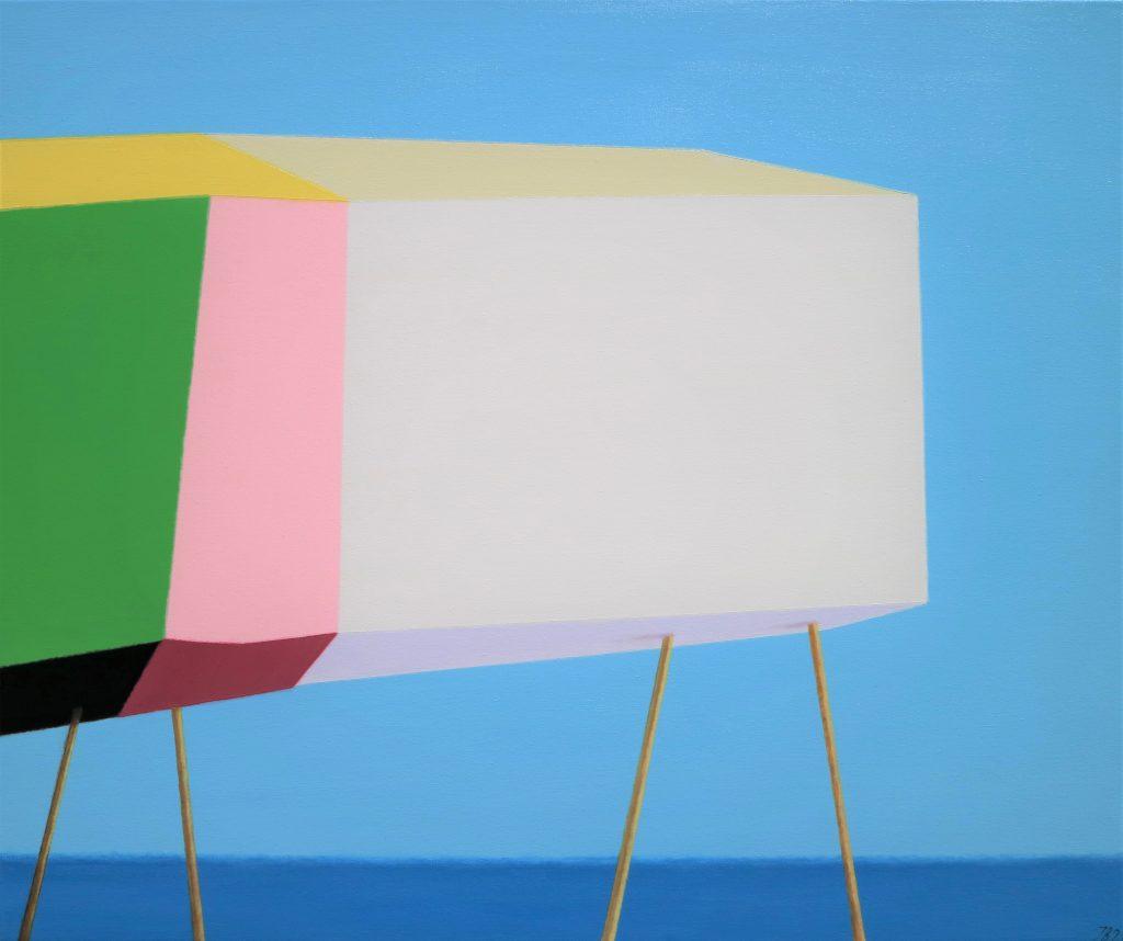 Ieva Baklane Flach ''La Jolla surfers house'' 20'' X 24'' acrylic.canvas 2021