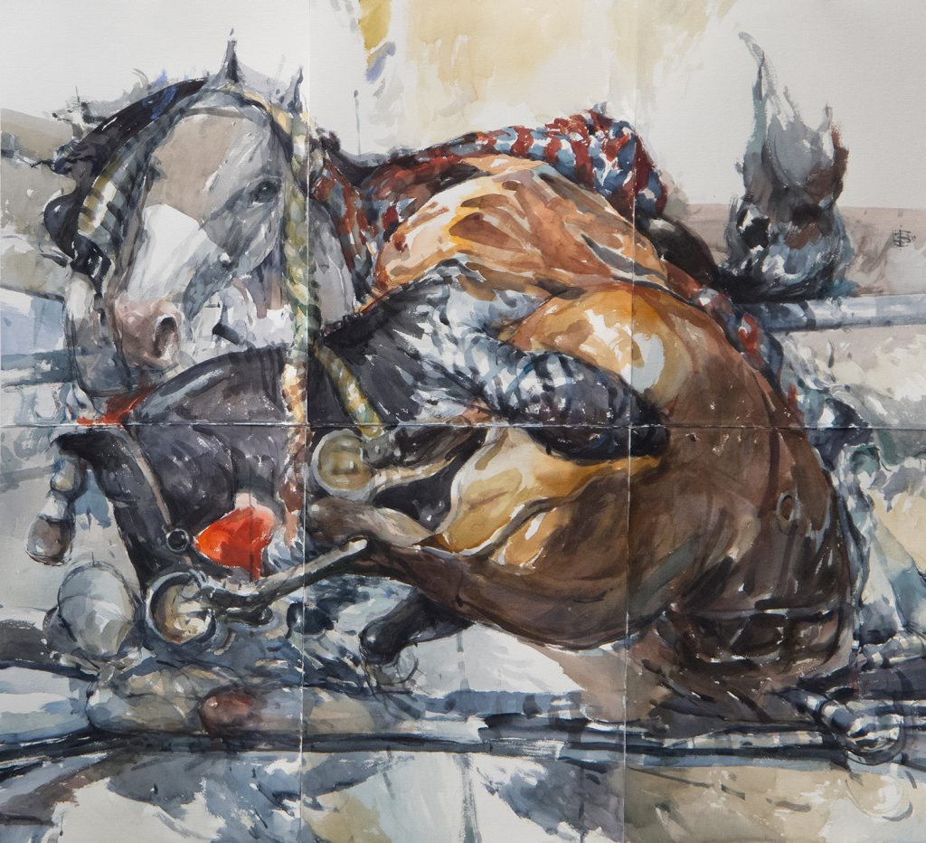 """""""The Abduction of Europa"""", watercolour polyptych on paper mounted on stretched large canvas"""