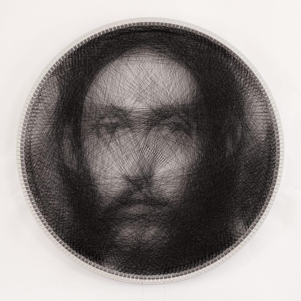 Knit 1 , Ο σωτήρας Χριστός (δίσκος διαμέτρου 63,5 εκ., πάχους 4 εκ.) (στεφάνι αλουμινίου, σύρμα, κλωστή) SMALL Algorithmic Knitting by Petros Vrellis