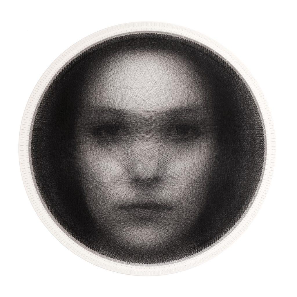 Knit 16: Portrait of the average woman face Algorithmic Art on Wood