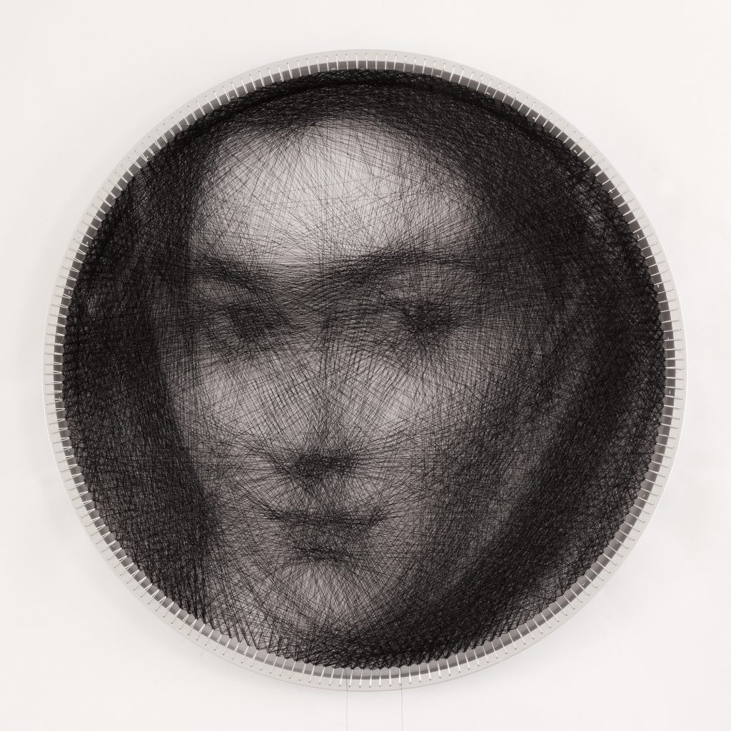 Knit 6 : Woman in fur (based on El Greco painting), Algorithmic Art on Aluminium by Petros Vrellis