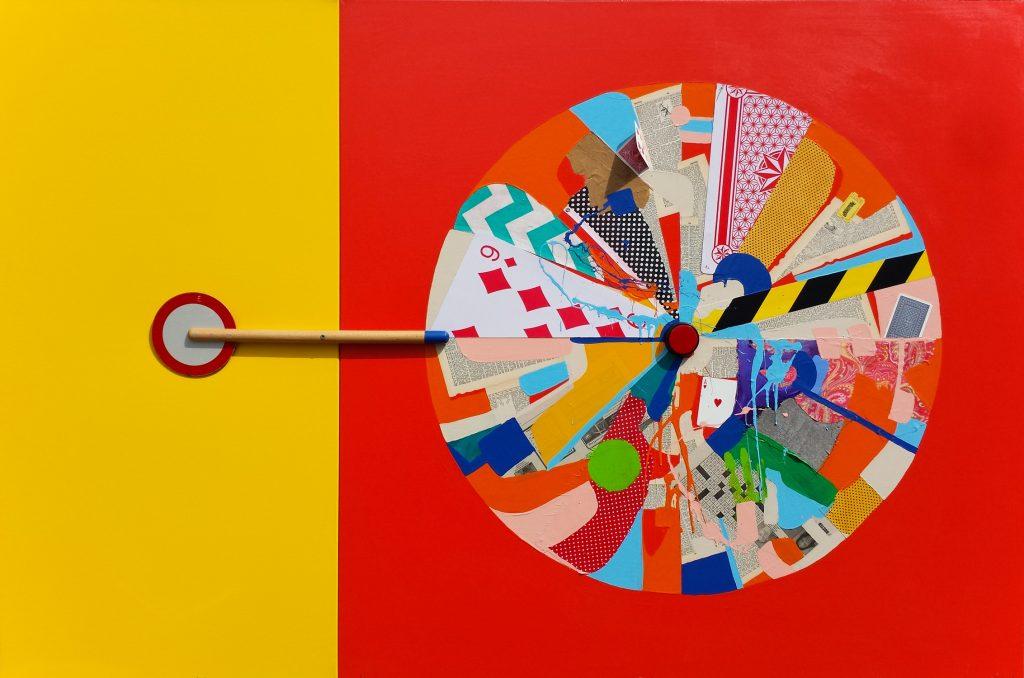 """""""Orbit"""", Mixed media on canvas (2 panels)"""