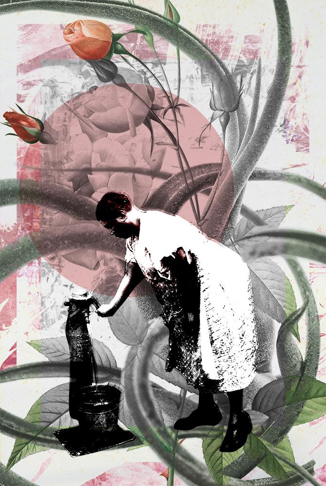 Water of the flowers digital collage print by Luise Eru