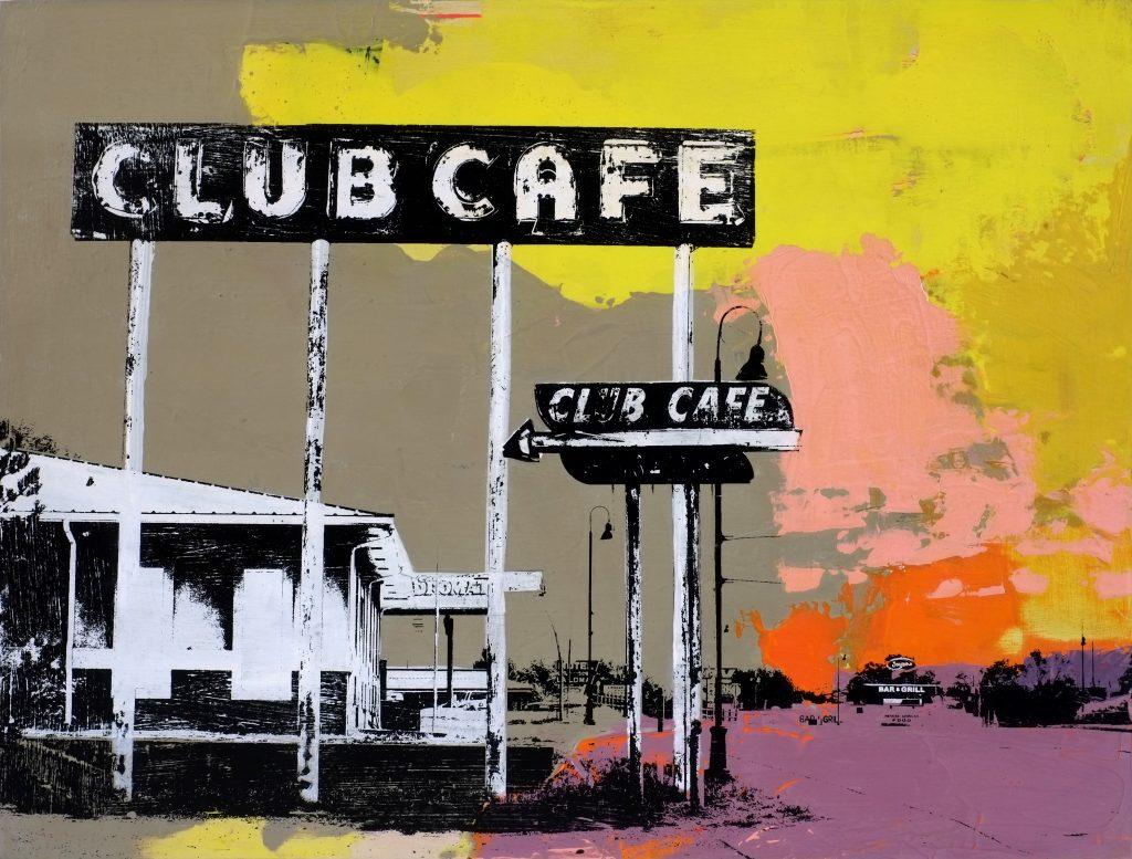 Club Cafe, mixed media on wood