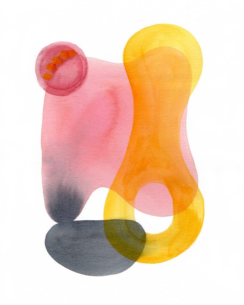 Hot pink feelings, Watercolor on pape