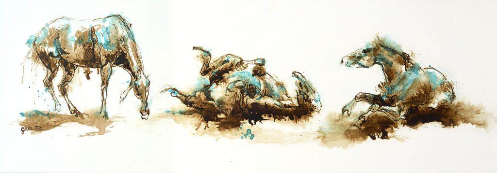 painting of three horses
