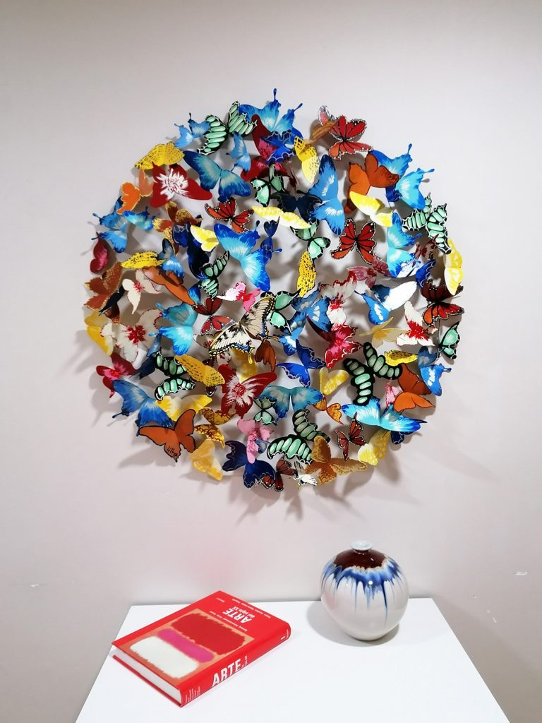 """""""99 Butterflies"""", A colorful composition of flying butterflies by Liliya Pobornikova"""