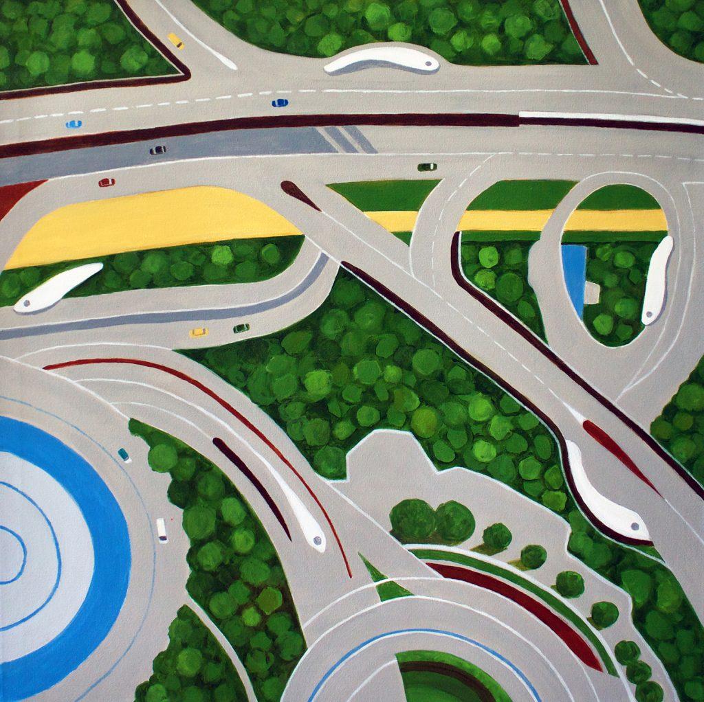aerial painting of Dubai roadways