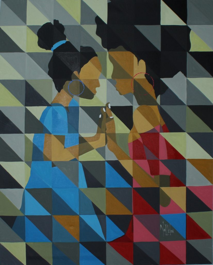 Family Prayer wins African contemporary cubism painting by Theophilus Tetteh