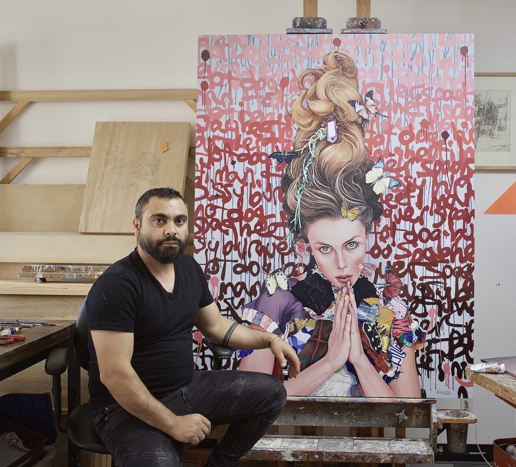 Minas Halaj with a painting of a woman