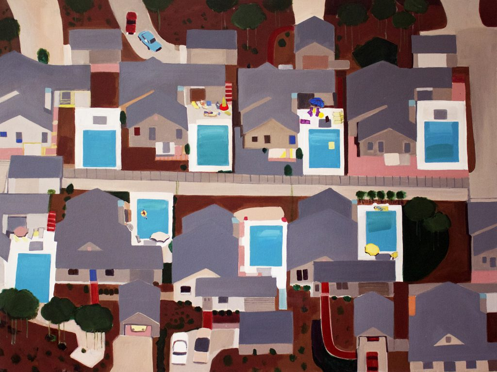 painting of houses with pools
