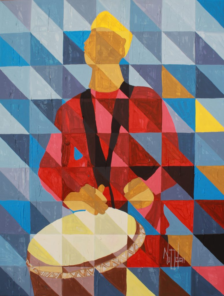 Inspirational Drummer African contemporary cubism painting by Theophilus Tetteh