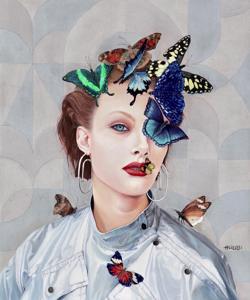 butterfly collage painting