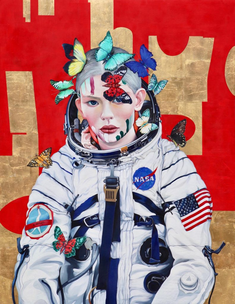 surreal butterfly astronaut painting