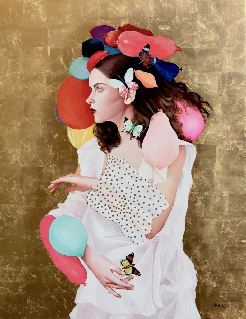 collage painting of woman with balloons
