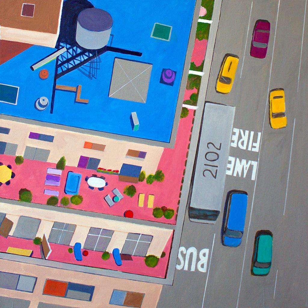aerial painting of New York street