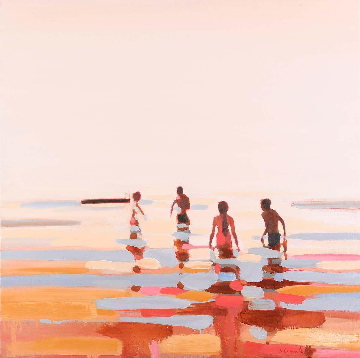 Summer Heat Paintings of People in water