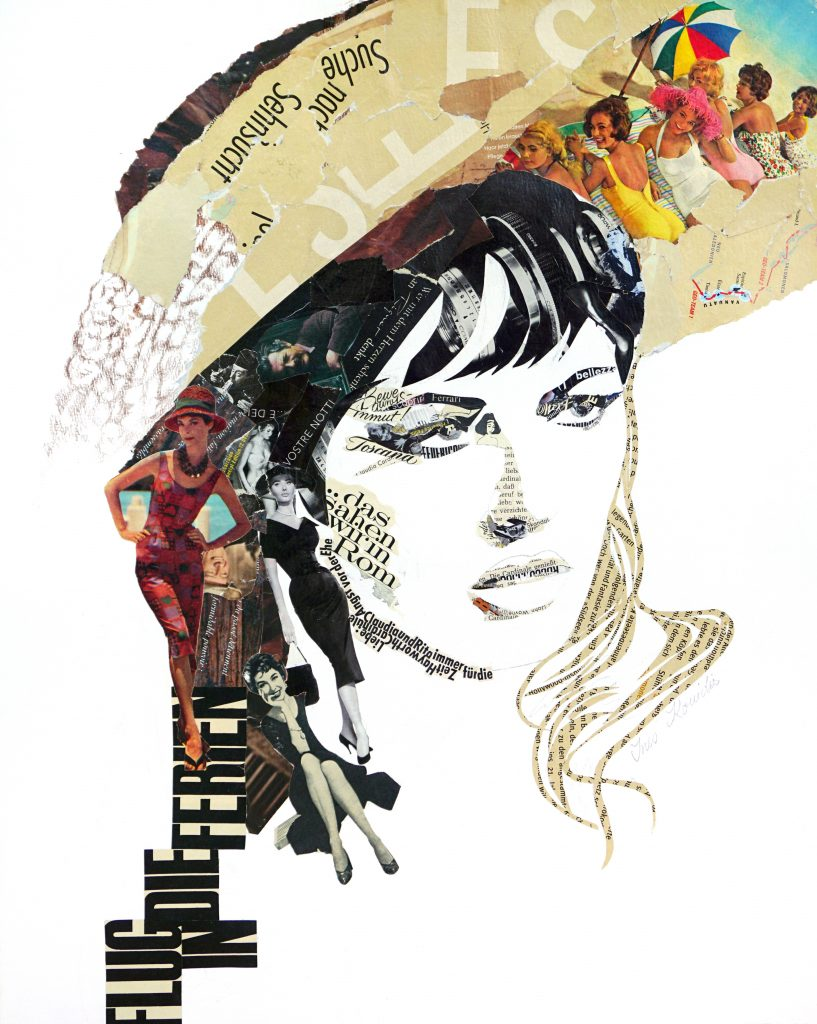 collage of woman in a hat