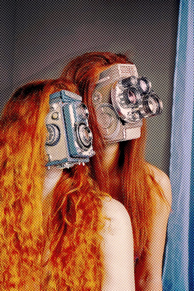 women with camera faces