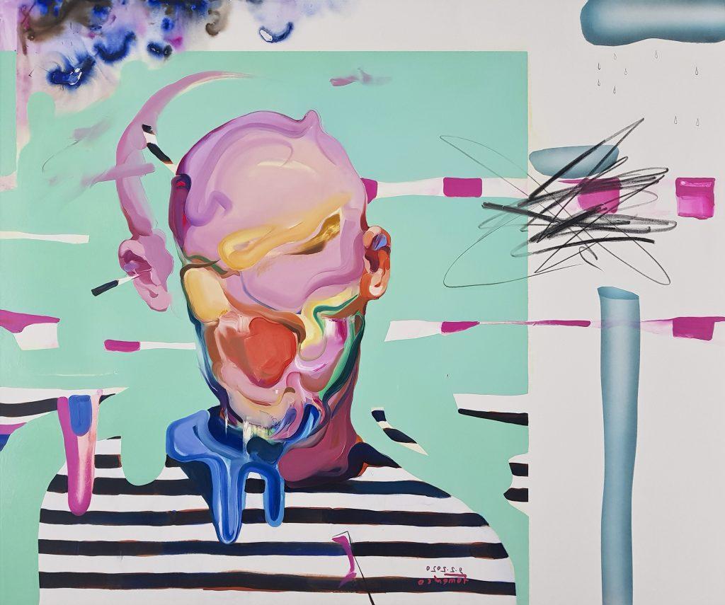 depression of the artist, melting face art
