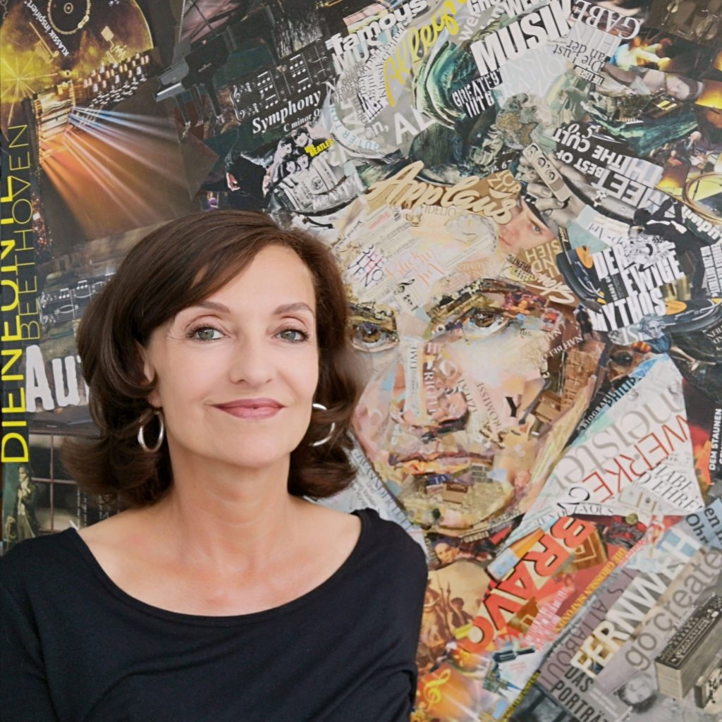 portrait of German collage artist Ines Kouidis