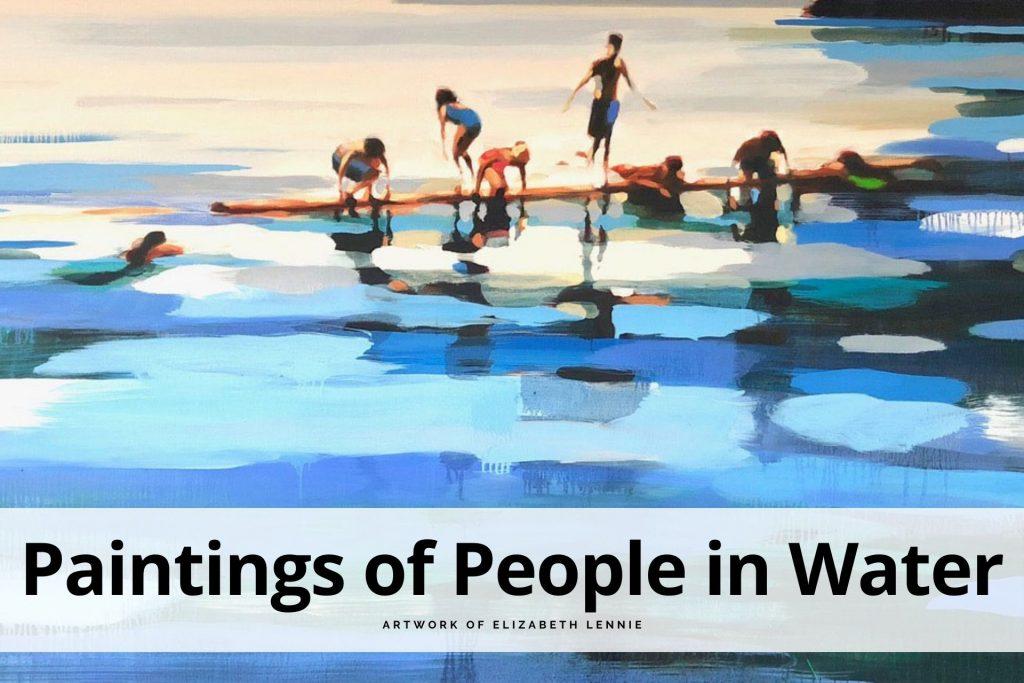 paintings of people in water by Elizabeth Lennie