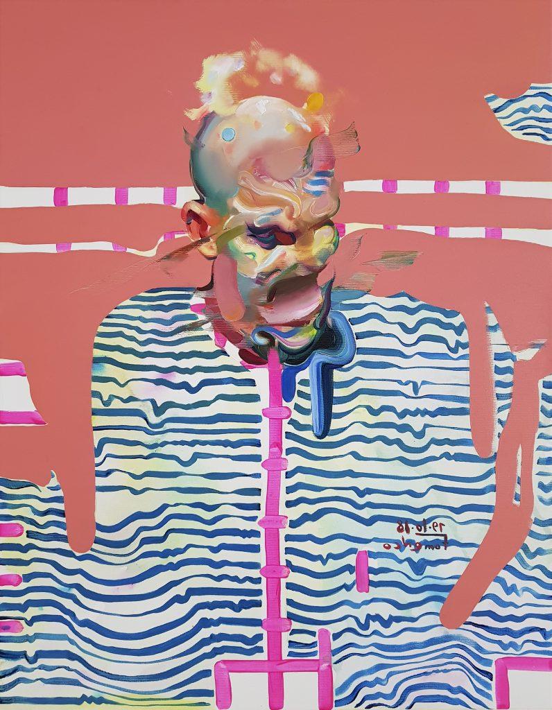 Depression of artist, melting face art