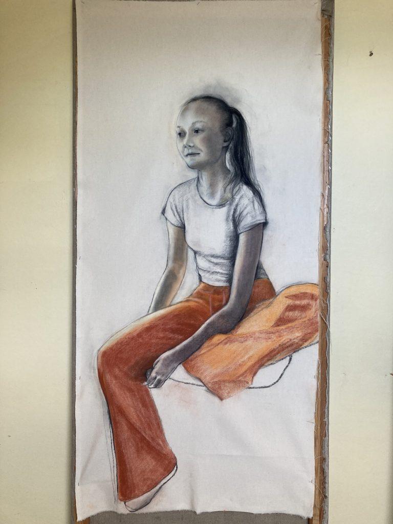 Girl with Orange pants