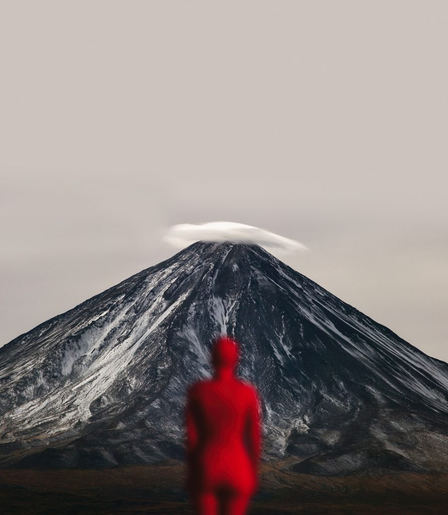Self-portrait with Licancabur volcano, digital photography