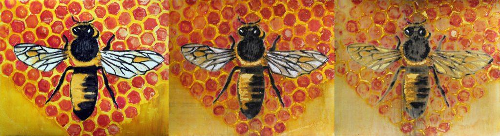 print of three bees