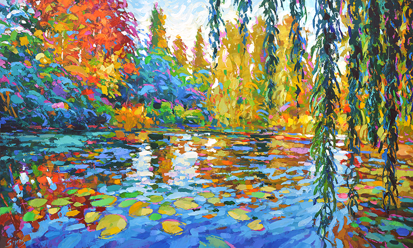 Contemporary Impressionist - Morning Willows by the pond