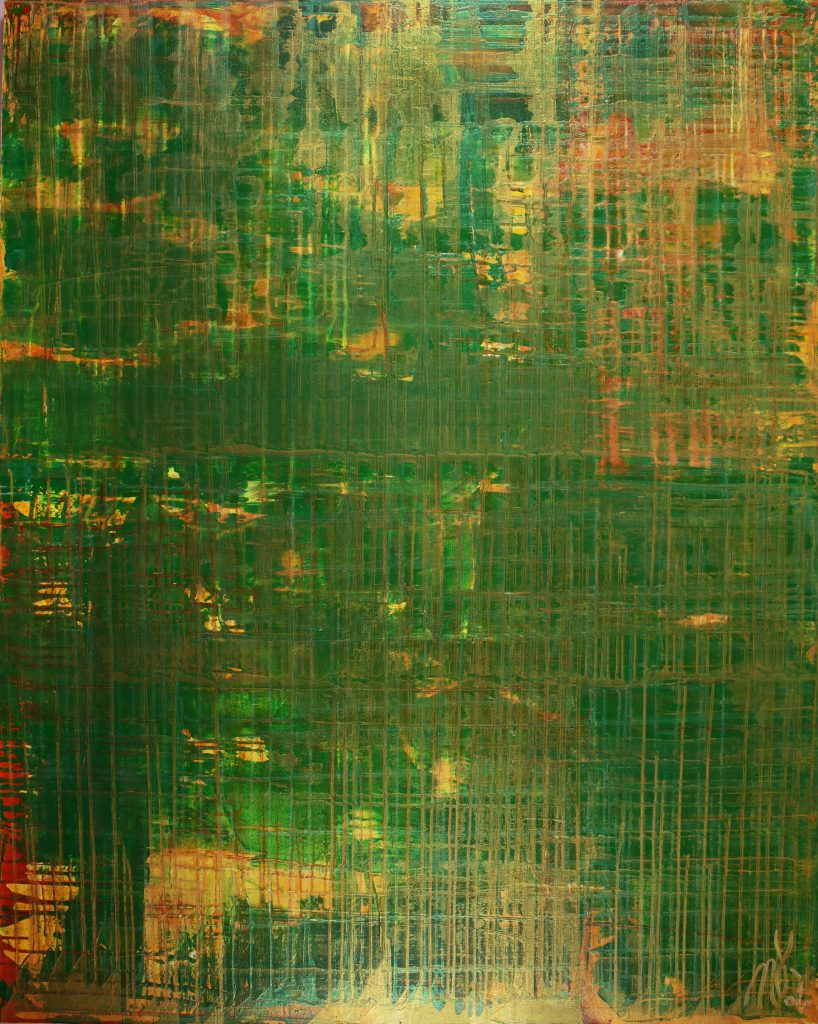 On Solid Ground (Iridescent Spectra) - abstract expressionist painter
