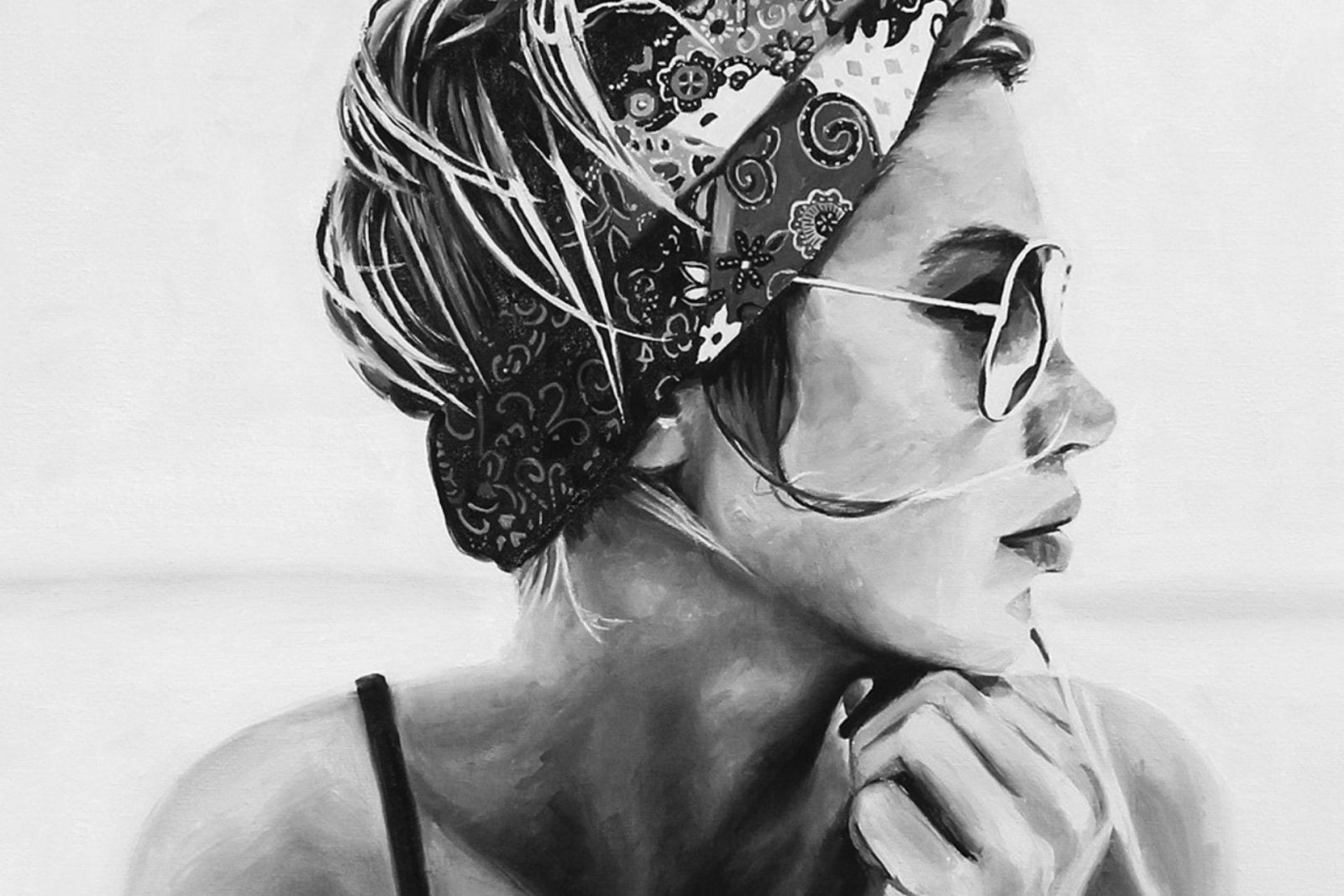 black and white figurative paintings by Cindy Press
